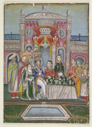 Nasir al-Din Haidar (King of Oudh 1827-37) at dinner with a British official and his wife